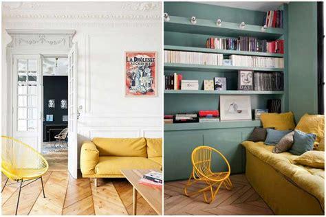 canapé jaune moutarde couvre lit moderne blanc