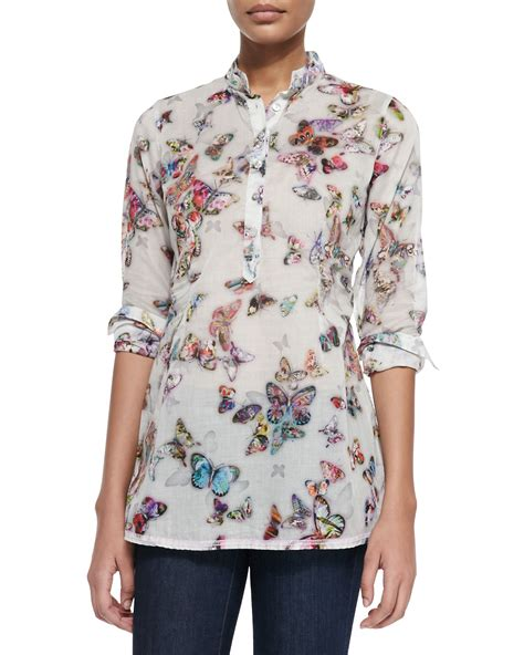 georg roth los angeles sleeve butterfly print blouse lyst