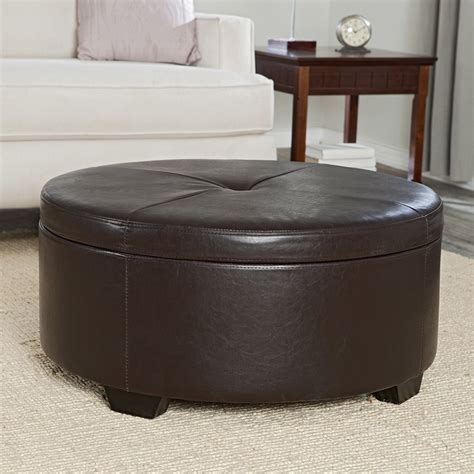 round leather storage ottoman large round tufted leather ottomans with storage olivia s
