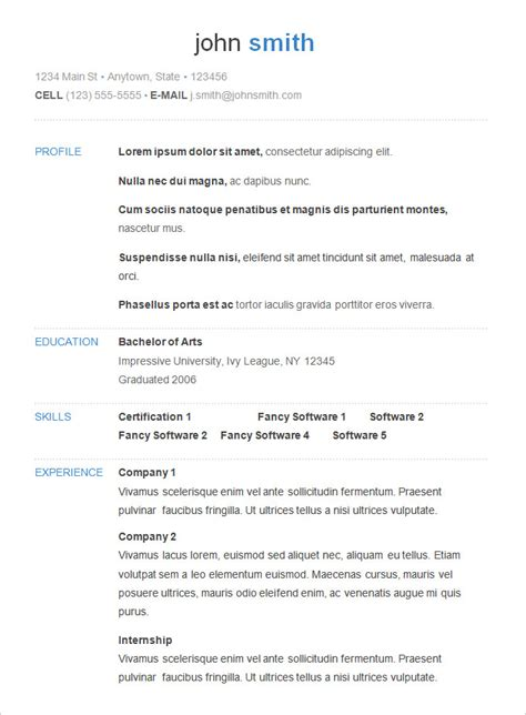 simple resume profile exles basic resume template 53 free sles exles format