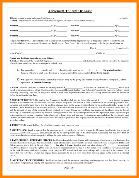 printable basic rental agreement or residential lease 10 basic rental agreement fillable nurse homed