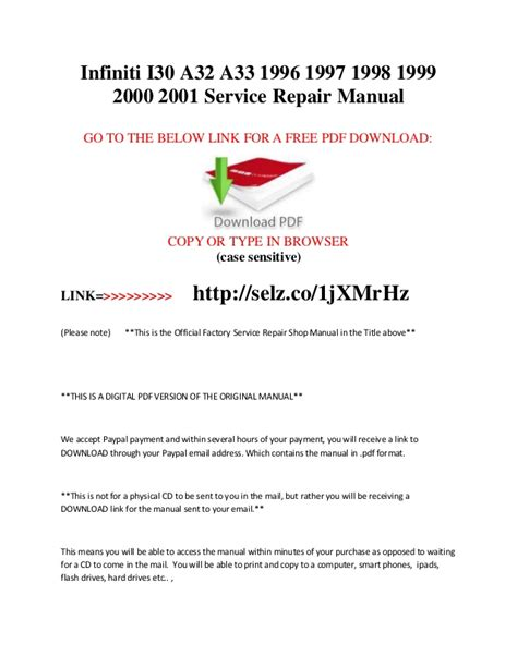 service manual free 2000 infiniti i online manual free auto repair manual for a 2000 infiniti i30 a32 a33 1996 1997 1998 1999 2000 2001 service repair man