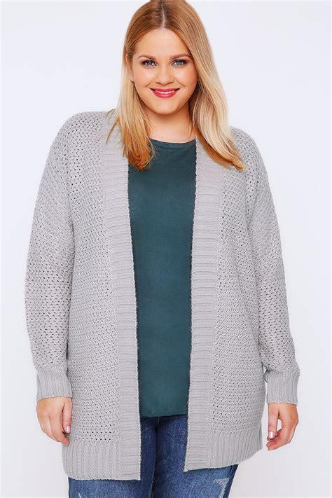 Sweater Merah Black Grey Bordir grey knitted longline cardigan with ribbed border plus