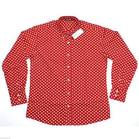Polkadot Shirt relco mens white polka dot sleeved shirt mod skin retro 60s