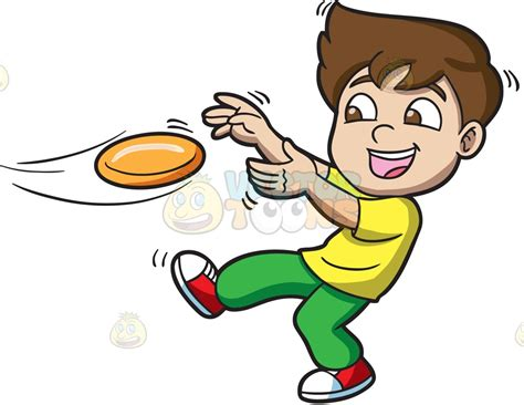 frisbee clipart a boy catching a flying disc clipart by vector