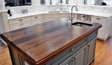 kitchen island wood countertop distressed black walnut heritage wood by artisan