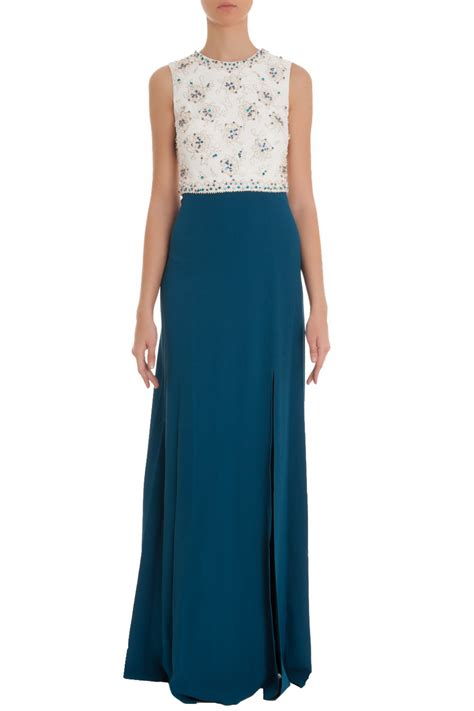 beaded white gown lyst packham white beaded top gown in blue