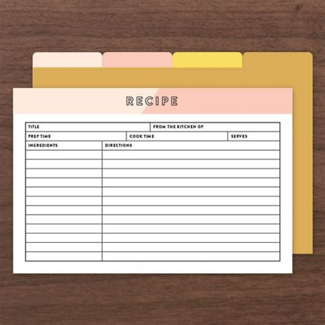 template for recipe card dividers printable editable recipe cards comes with front and