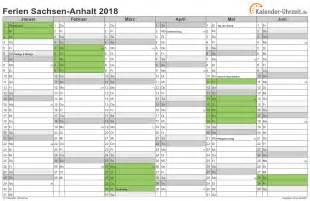 Kalender 2018 Mit Ferien Sachsen Ferien Sachsen Anhalt 2018 Ferienkalender Zum Ausdrucken