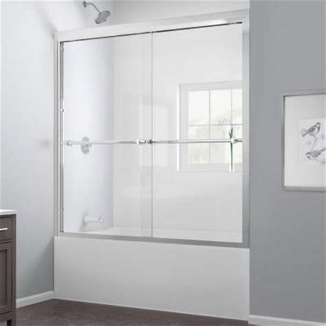 Home Depot Bathtub Shower Doors Dreamline Duet 59 In X 58 In Frameless Bypass Tub Shower Door In Brushed Nickel Shdr 1260588
