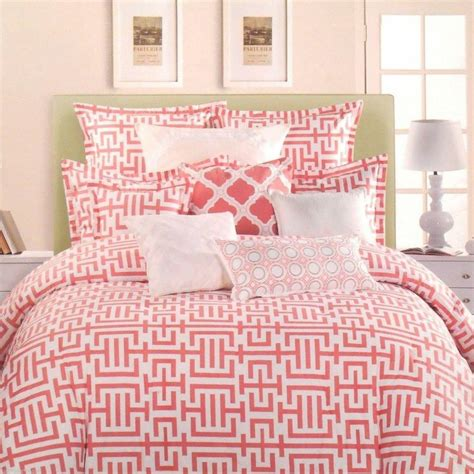 max studio coral salmon white 5pc cotton full queen