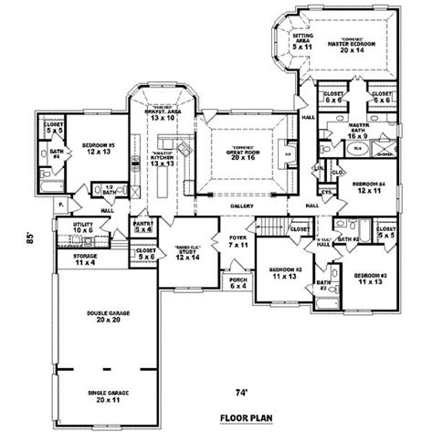5 bedroom floor plan 3105 square 5 bedrooms 4 batrooms 3 parking space on 1 levels house plan 9560 all