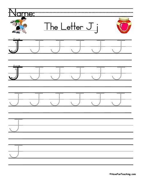 alphabet worksheet j letter j practice worksheets tracing letters a z