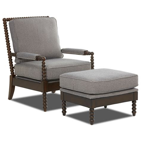 Accent Chair And Ottoman Set Klaussner Chairs And Accents Accent Chair And Ottoman Set With Spool Turned Legs Dunk