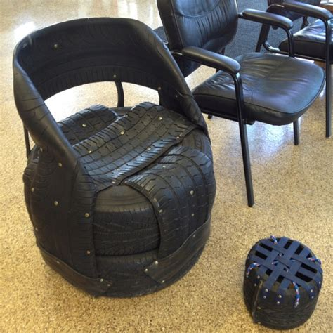 tire couch chair made of tires at the tire shop furniture