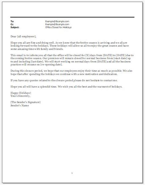 Office Closed For Holidays Email Template Word Excel Templates Motivational Email Template