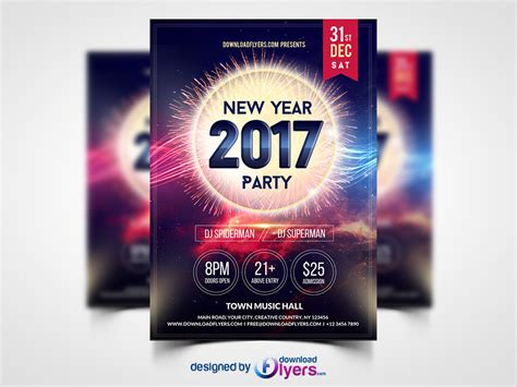 new year 2017 party flyer template free psd download