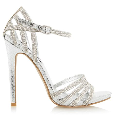 silver heeled sandals steve madden cagged high heel sandals in metallic lyst