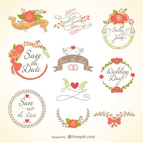 Wedding Banner Design Free by Floral Wedding Decorations Badges Banners Vector