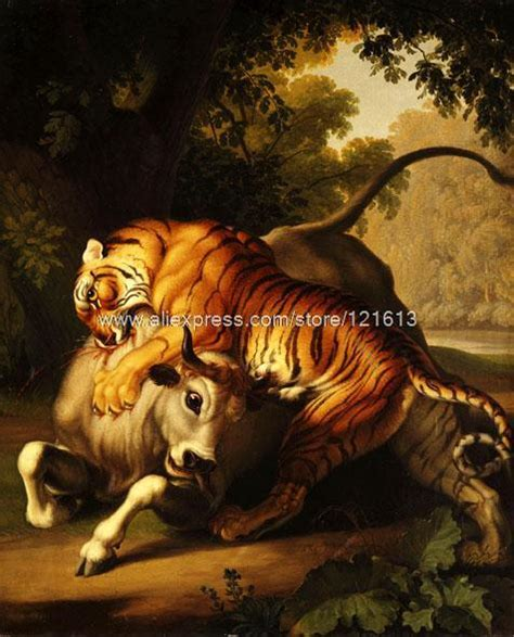 Online Home Decor Stores Cheap by Wenzel Peter Tiger Attacking Bull Bloody Fierce Food Chain