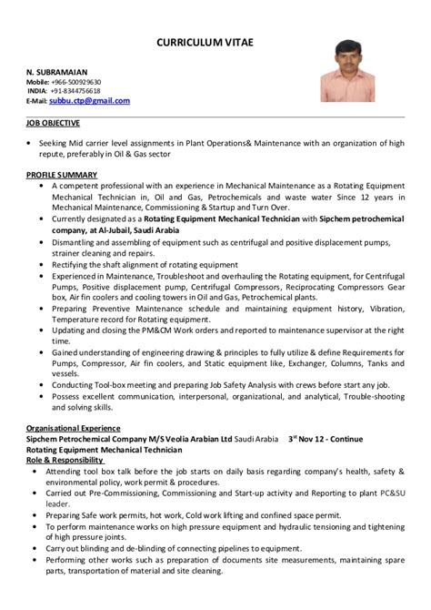 Resume Sles Mechanical Technician Mechanical Technician Cv