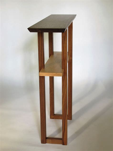 narrow entry table wood console  hallway  small