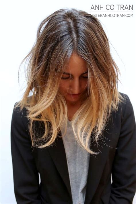 how to style a lob or long bob photos momtastic long subtle ombre bob hair lob haircolor blazer tee