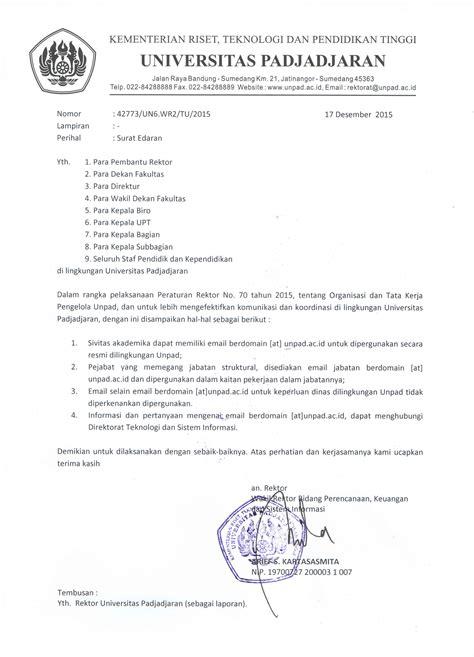 surat edaran penggunaan email unpad ac id universitas