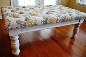 Oak Kitchen Cabinets Refinishing reupholstered diy square tufted ottoman bench with fabric