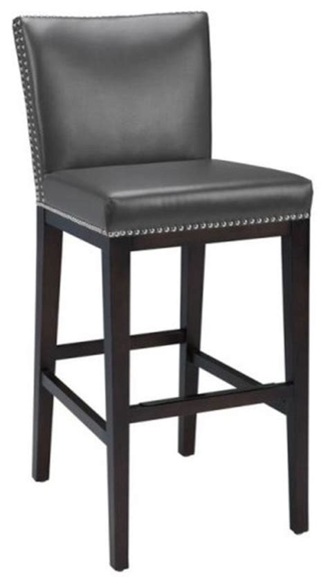 kitchen counter height bar stools leather stool with nailhead gray bar height contemporary