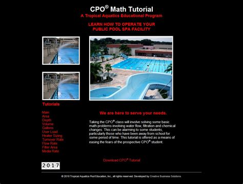 tutorial website for math certified pool and spa operator classes by tropical