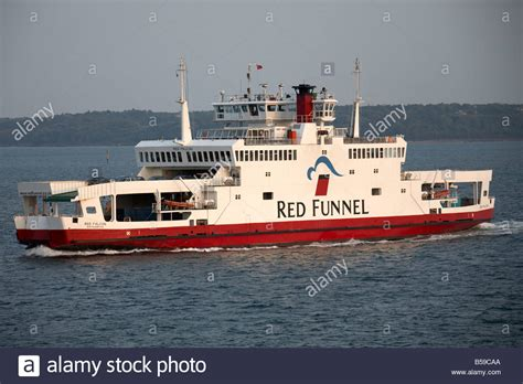 ferry boat with cars red funnel car ferry boat ship in evening light on the