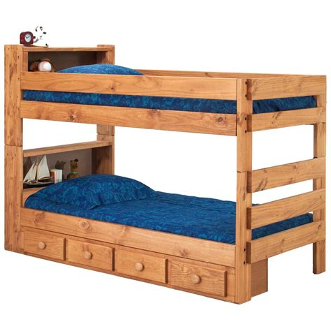 twin bunk bed bookcase headboards drawers mahogany