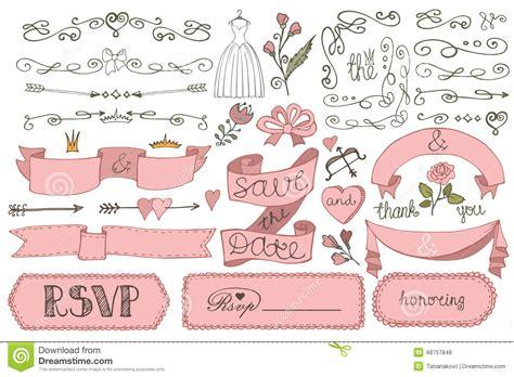 doodle bridal shower ribbon border badges decor stock