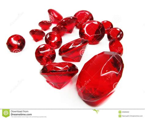 red ruby gem stones crystals stock photo image