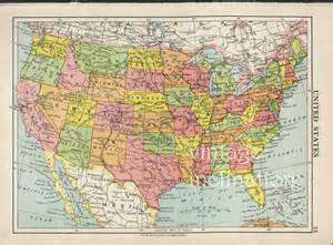 vintage map of the united states usa map 1950 vintage united states map map by