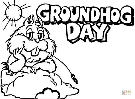 Groundhog Day Coloring Page Picture Super Coloring Groundhog Day Coloring Page