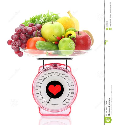 Toaster Animation Kitchen Scale With Fruits And Vegetables Stock Photos