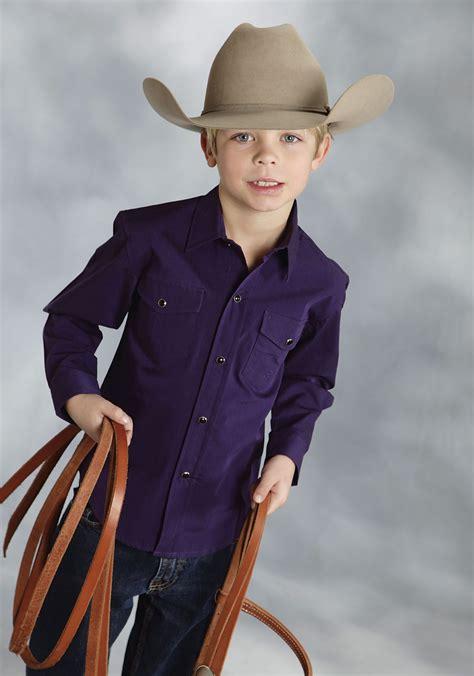 roper 174 boy purple ls snap cowboy shirt
