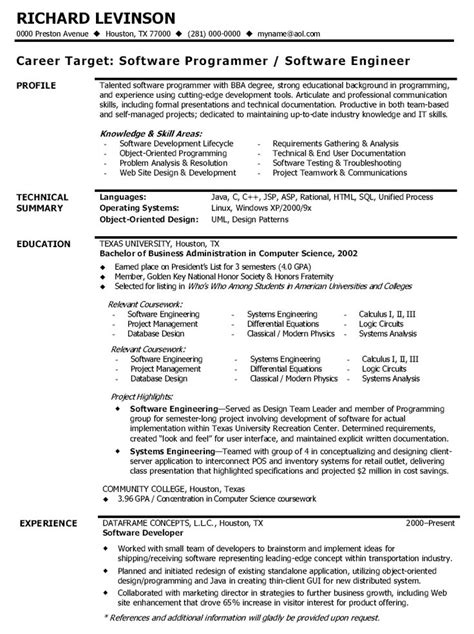 Best Resume Format For Software Engineers by Resume For Software Engineer Resume Ideas