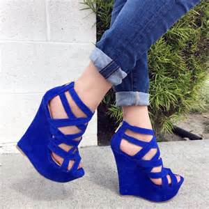 Nice Sofas royal blue faux suede strappy open toe platform wedges