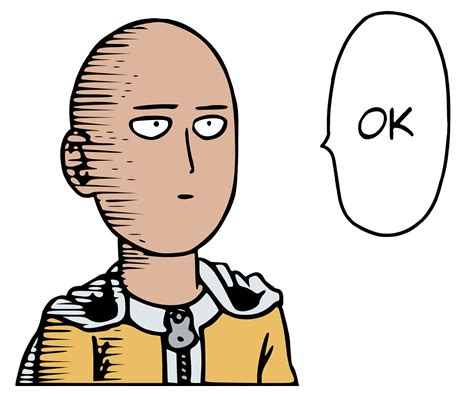 Ok Face Meme - one punch man saitama ok color transparent png stickpng