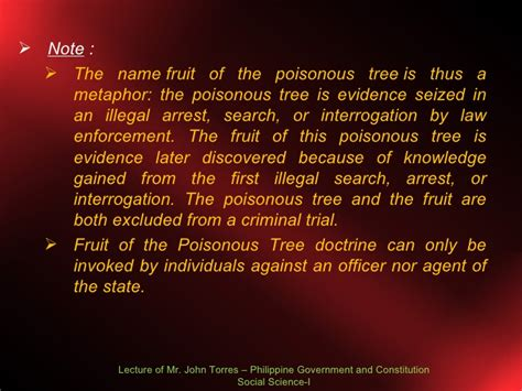 fruit of the poisonous tree doctrine bill of rights lecture 2