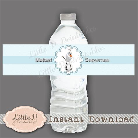 printable olaf water bottle labels 7 best images of melted olaf water bottle label printable