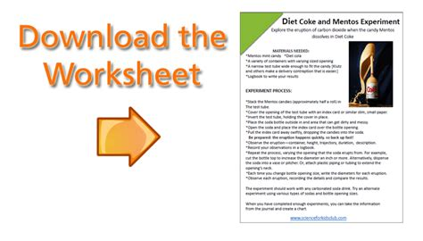 Mentos Experiment Worksheet by Diet Coke And Mentos Science Project