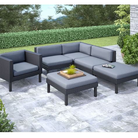 home depot outdoor sectional corliving oakland 6 pc sectional with chaise lounge and