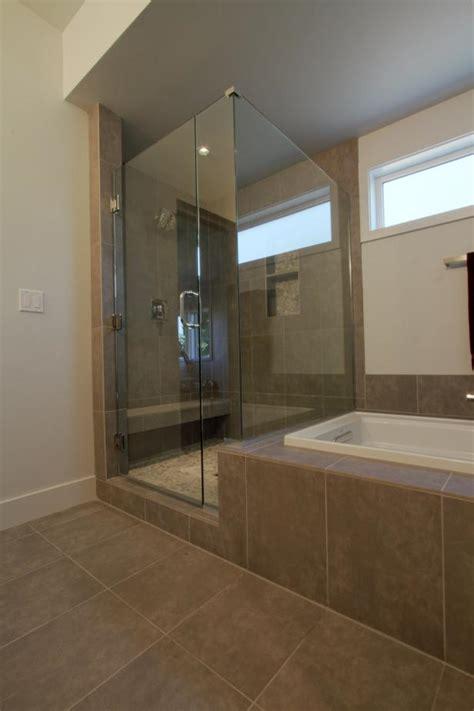 modern spa bathroom  large glass shower   soaker
