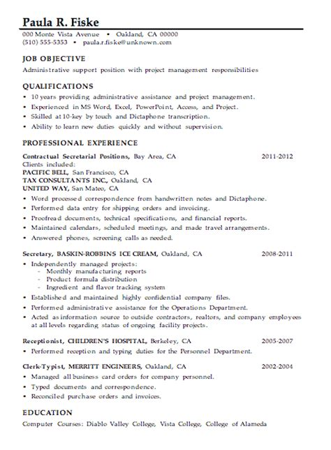 sle resume for leadership position sle resume for management position administration support