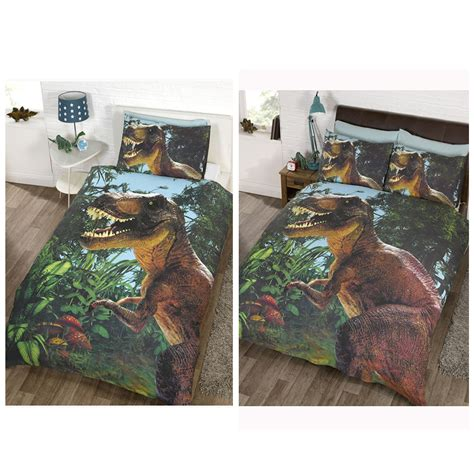dinosaur bedroom set jurassic t rex dinosaur duvet cover sets in single or size bedroom ebay