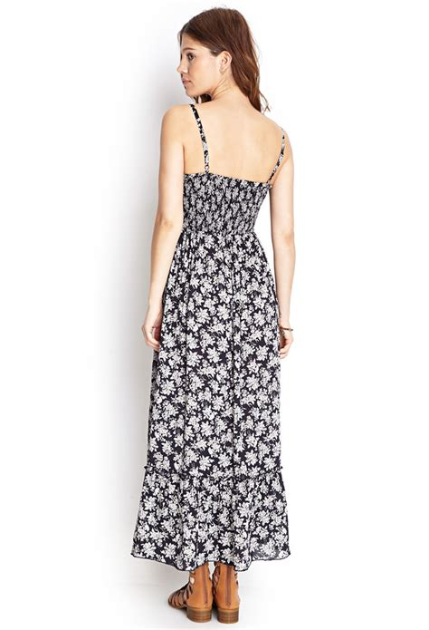 Maxi Dress Forever 8 Kode 7080 lyst forever 21 smocked floral maxi dress in blue